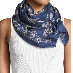 Alexander McQueen Navy and Grey Silk skull scarf